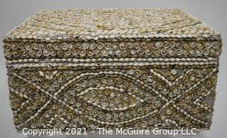 """Vintage Hand Crafted Sea Shell Encrusted Trinket Box.  Measures 8"""" x 16"""" x 6""""T"""
