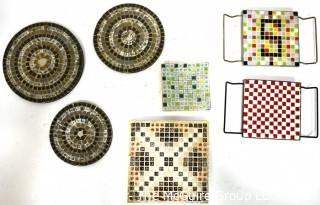Seven (7) Mid Century Hand Made Mosaic Trays and Plates.