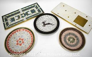 Five (5) Mid Century Hand Made Mosaic Trays and Plates.