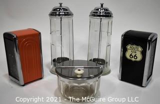 Group of Diner Serving Items Including Straw Dispensers, Napkin Holders & Covered Dish.