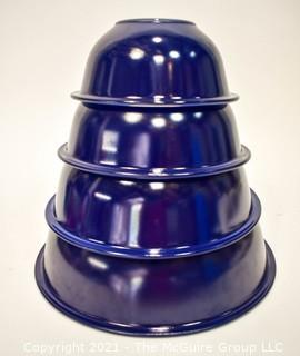 Vintage Set of Four (4) Pyrex Cobalt Blue Glass Nesting Mixing Bowls