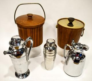 Collection of Vintage Mid Century Modern Barware.  Includes Two (2) Ice Buckets, Two (2) Chrome Cocktail Shakers and One (1) Chrome Insulated Carafe.
