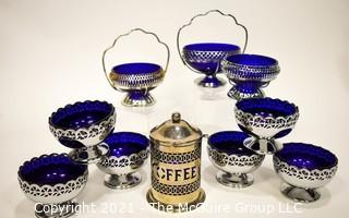 Group of Vintage Silverplate with Cobalt Glass Inserts Serving Bowls and Coffee Decanter.