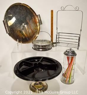 Collection of Server Pieces Including Diner Straw Holder