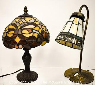 Two Reproduction Tiffany Stained Glass Style Desk or Table Lamps.
