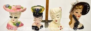 Four Vintage Porcelain Lady Head Vases & Vanity
