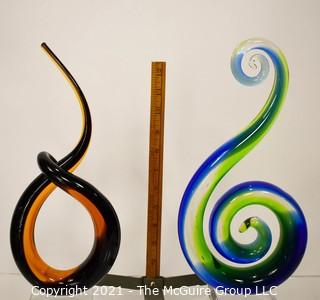 Two (2) Tall Murano Style Blown Art Glass Centerpieces