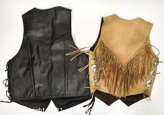 Two (2) Leather Vests