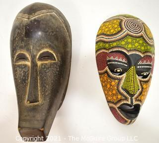 Two (2) Ethnographic Tribal Carved and Painted Wood Masks