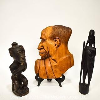 Three (3) Ethnographic Wood Figural Carvings