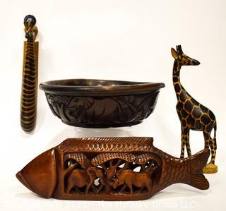 Assorted Wood Carvings: 2 Giraffes, Fish and Bowl