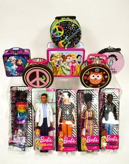 NIB Barbie Dolls and Lunch Boxes