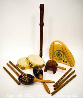 Assorted Carved Wooden Musical Instruments