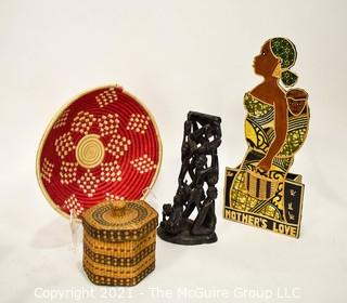 Group of African Handicrafts Including Carved Statue, Baskets and Art