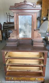 "Late 19th c Eastlake dresser w/ faux graining drawers and upper mirror; 39W x 18 1/2D x 34 1/2T (74"" w/ mirror)"