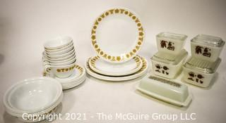 Vintage Retro Dishware Including Pyrex Refrigerator Containers and Correlle Dinnerware