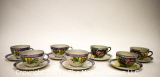 Set of (7) Hand Painted Japanese Lusterware Tea Cups and Saucers