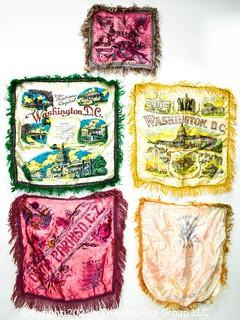 Four (4) Vintage Satin Fringe Pillow Covers or Case Souvenirs from Washington DC, Camp Paraiso, C.Z., and Others.
