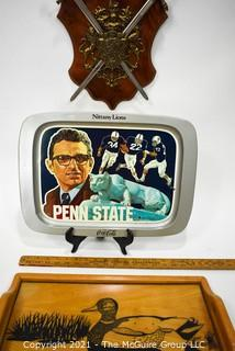 Mix Including Joe Paterno Penn State Metal Serving Tray, Wall Plaque with Swords, and Inlaid Wood Tray