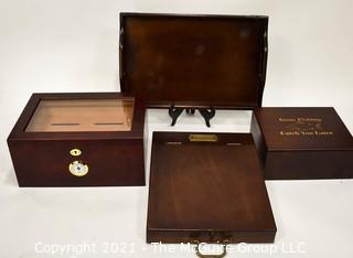 Collection Of Wooden Boxes And Tray, Including Humidor