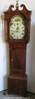 "Circa 1825 Tall Case Clock with hand painted face; 21W x 9 1/2D x 88 1/2""T"
