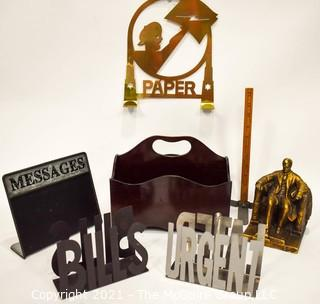 Group of Contemporary Metal Desk & Wall Organizers and One Souvenir Abraham Lincoln Memorial Figurine.