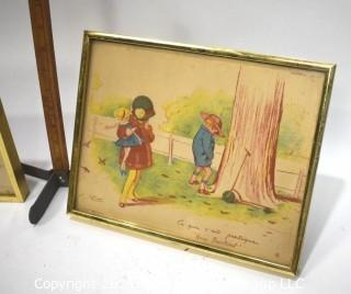 Two (2) Framed French Prints of Children by Reson