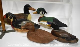 Eight (8) Wooden Carved Duck Decoys.
