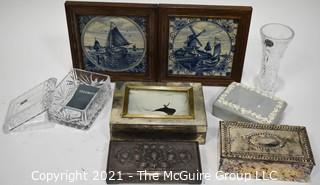 Collection Including Dresser Boxes, Vase and Framed Delft Tiles