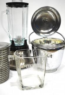 Group of Vintage Barware Items Including Chrome and Lucite Ice Buckets and Blender