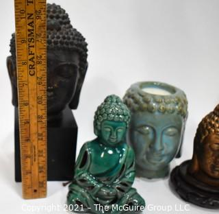 Group of Asian Items Including Buddah Heads, Plate and Geisha Figurines