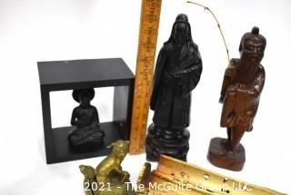 Group of Asian Themed Items Including Incense Burner and Carved Figures