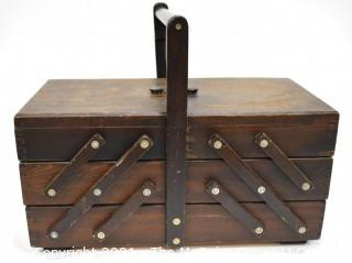 Vintage Accordian Expandable Wooden Sewing Box