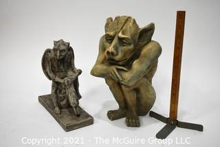 Two (2) Contemporary Gothic Statue Figures Made of Resin and Cement
