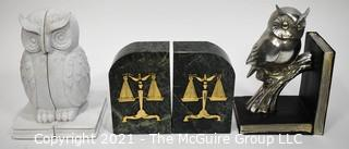 2 1/2 Sets of Bookends including green marble set with scales of justice