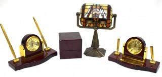 Desk Items Including Faux Tiffany Style Lamp and Pen Set with Clocks