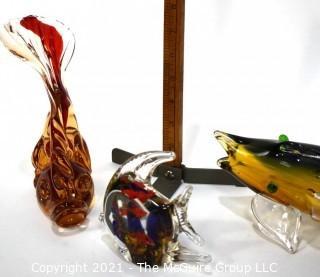 Three (3) Hand Blown Murano Style Glass Koi Fish