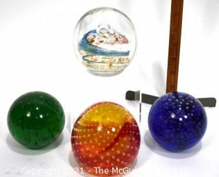 Four Hand Blown Glass Paperweights