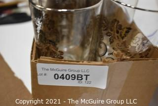 """Collection of Vintage Dorothy Thorpe 25th Anniversary & """"R"""" Initial Silver Overlay & Rimmed Glass Tumblers"""