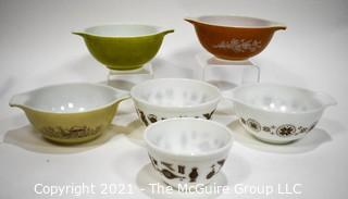Six (6) Vintage Pyrex Mixing Bowls in Town & Country, Forest Fancies and Butterfly Gold Pattern.