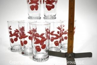 Vintage Set of Seven (7) Libbey Glass Tumblers with Red Cherrys,  Swanky Swig