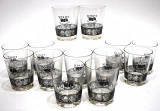 Vintage Set of Schlitz Malt Liquor Rocks Glasses from the 1970's