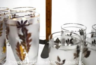 Mid-Century Modern Barware Set of Frosted Gold Maple Leaf Libbey Glasses & Tumblers