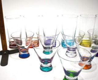 Set of Clear Martini and High Ball Glasses with Bright Color Bases.