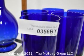 Cobalt Barware Set Including Carafe with Stopper, Mugs & Tumblers
