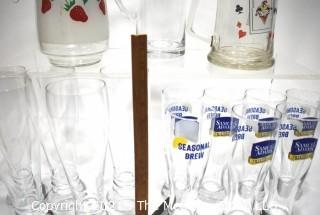 Collection of Strawberry Glass Pitcher and Beer Pilsners.