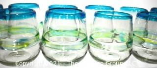 Set of Twelve (12) Hand Blown Made in Mexico Glass Tumblers with Blue Rim and Green Decoration