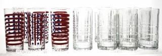 Set of Red, White & Blue Stars & Stripe and Clear Etched Glass Bar Tumblers