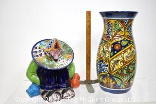 Two (2) Mexican Hand Painted Talavera Pottery Items.  Includes Sleeping Siesta Sombrero Man & Tall Vase.