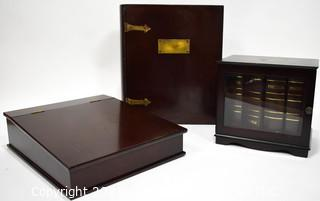 Three (3) Contemporary Finished Wood Storage Boxes
